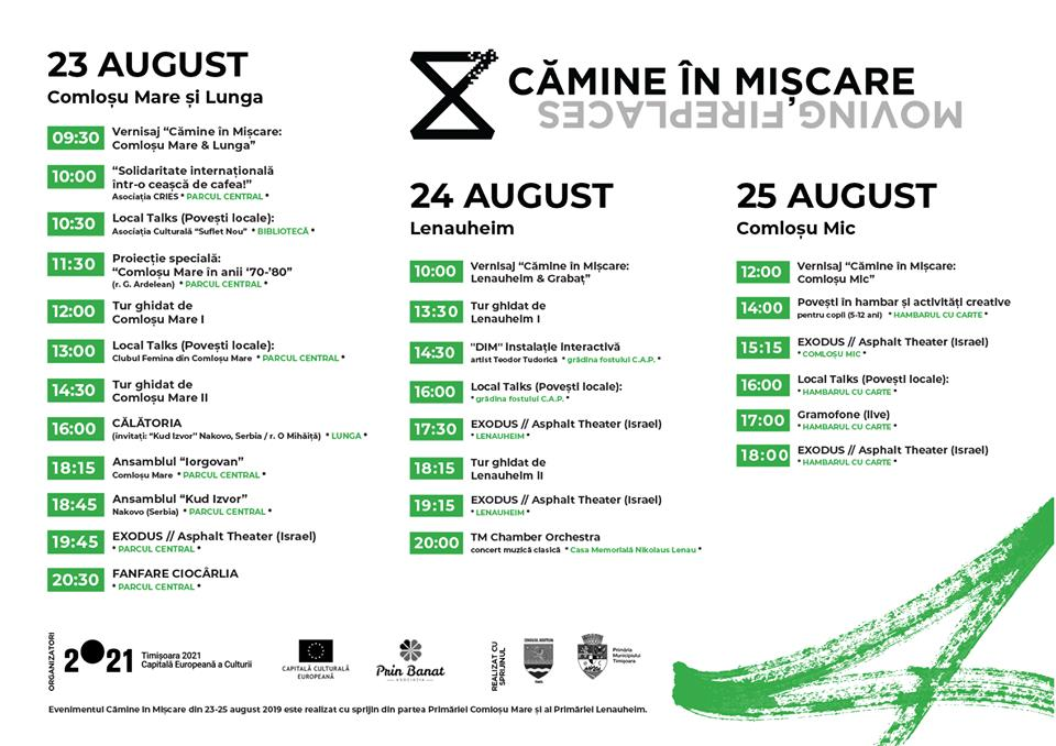 Cămine în Mișcare, program 23-25 august 2019
